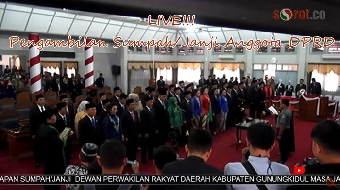 LIVE RAPAT PARIPURNA ISTIMEWA PENGUCAPAN SUMPAH/JANJI DPRD KAB GUNUNGKIDUL MASA JABATAN 2019-2024